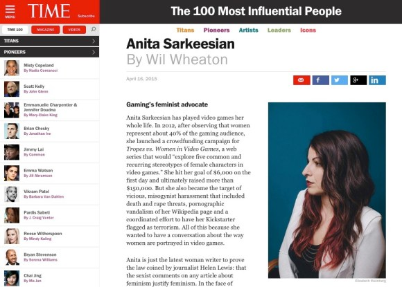 Anita Sarkeesian TIME 100