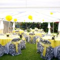 Damask chair covers with yellow overlays and chair sashes all set