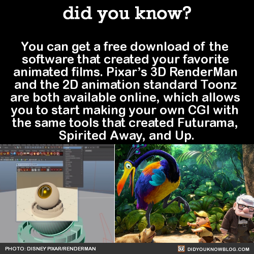 You can get a free download of the  software that created your favorite  animated films. Pixar's 3D RenderMan  and the 2D animation standard Toonz  are both available online, which allows  you to start making your own CGI with  the same tools that created Futurama,  Spirited Away, and Up.  Source Source 2 Source 3