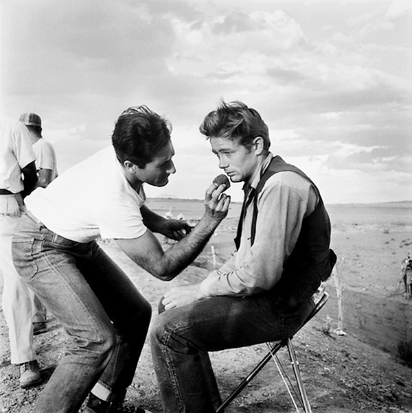 James Dean on the set of Giant, Marfa, Texas, 1955Giant was his last film. Dean died before final production was finished. Some of his lines were overdubbed by his friend Nick Adams.