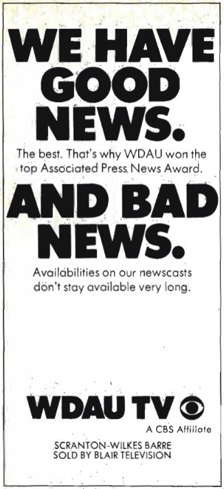 WGBI-TV, Channel 22, signed on from Scranton, Penn., in