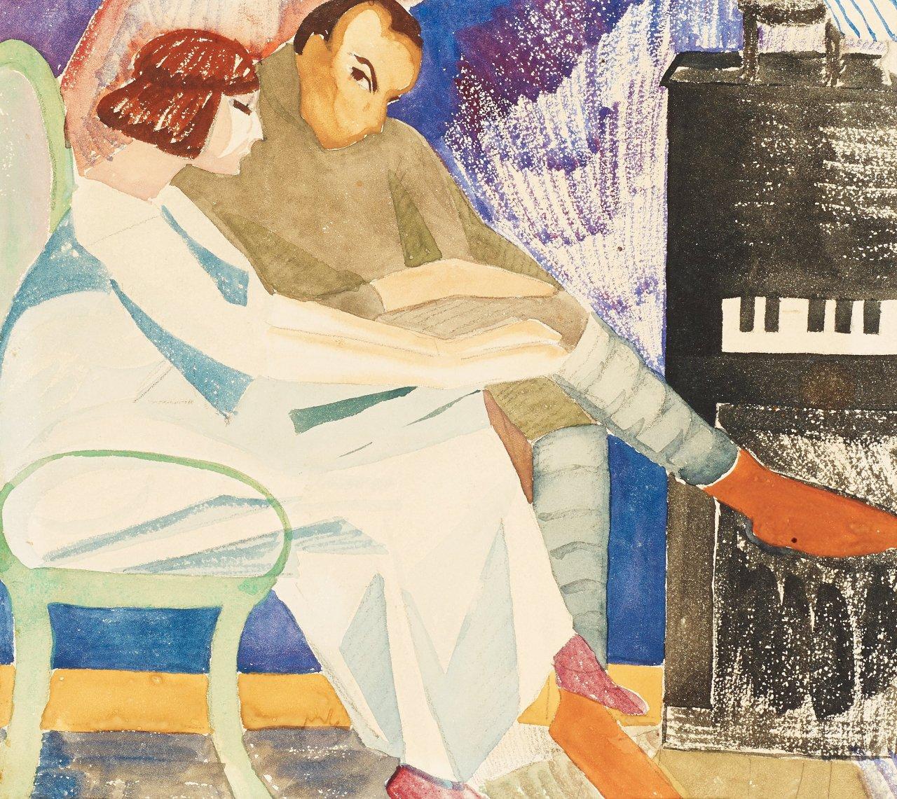 lawrenceleemagnuson:Brita Nordencreutz (Sweden 1899-1982)At the Piano (1950)watercolour 18.5 x 20cm