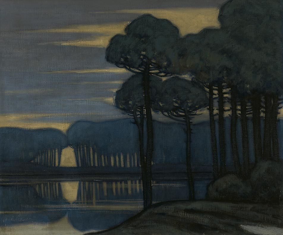 amare-habeo:  Gustavo de Maeztu (Spanish 1887-1947)  Landscape at Dusk, 1910 Oil on canvas, 46 x 55 cm via   huariqueje