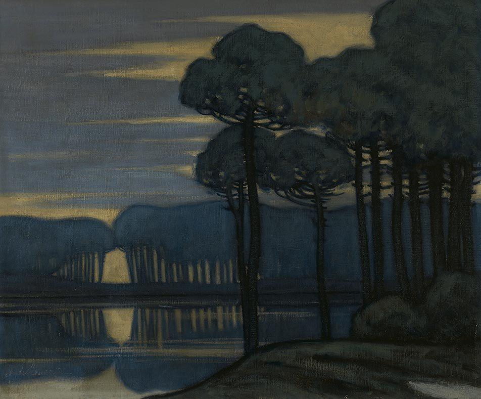amare-habeo:  Gustavo de Maeztu (Spanish 1887-1947)  Landscape at Dusk, 1910 Oil on canvas, 46 x 55 cm via  huariqueje