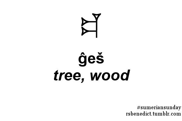 rsbenedict:This week's Sumerian sign is ĝeš, which means