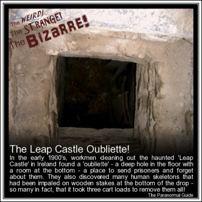 The Leap Castle Oubliette! - If the owners of the castle did not like you for whatever reason, and wanted to punish you in the most harsh of ways, in the oubliette you go! You would either be forced, lured, tricked or seduced into the small room where the opening awaited. From there it was not too long a drop but long enough to ensure you could never climb back out. What greeted you was a room with only the one entrance/exit - the hole you tumbled down. However, Leap Castles Oubliette was even more nasty, it had wooden spikes lined at the bottom so at the very least you would be quite injured… and with the hatch closed over it was all you could do to wail and cry until you succumbed to deaths embrace. Leap Castle is haunted by many spirits, many of which no doubt saw their physical life ended in the oubliette. You can also follow The Paranormal Guide at:Tumblr. Website. Youtube. Twitter. Facebook. Google+. Newsletter.