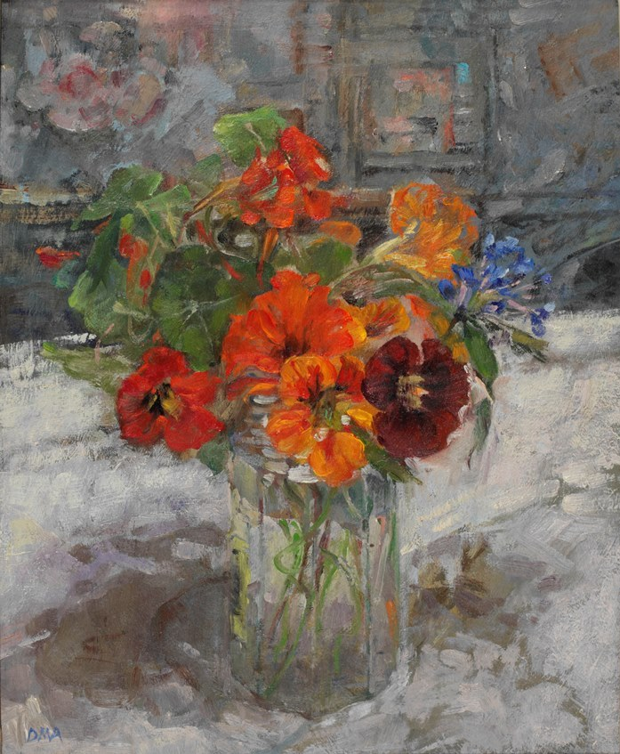 huariqueje: Nasturtiums, Late Flowering  -    Diana Armfield British b.1920- oil on board, 11 ½ x 9 ¼ inches