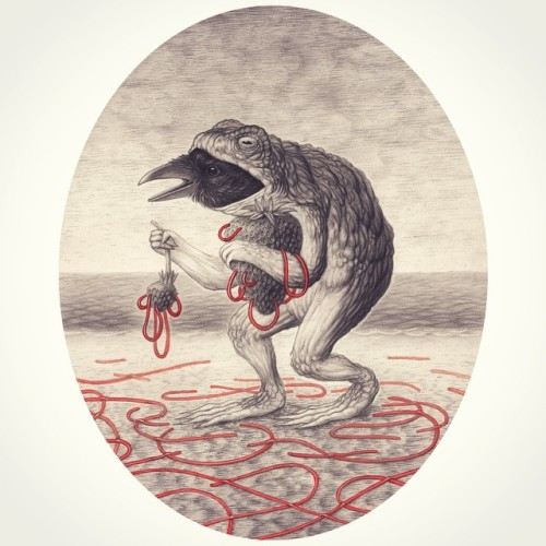 The New Fruit. Graphite and watercolour on paper.  Available to purchase (framed). Send me a message via the website: nicksheehy.com/contact or hit the link in my profile. (Ignore the closed shop)  #art #illustration #frog #toad #raven #surreal