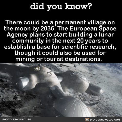 There could be a permanent village on  the moon by 2036. The European Space  Agency plans to start building a lunar  community in the next 20 years to  establish a base for scientific research,  though it could also be used for  mining or tourist destinations.     Source