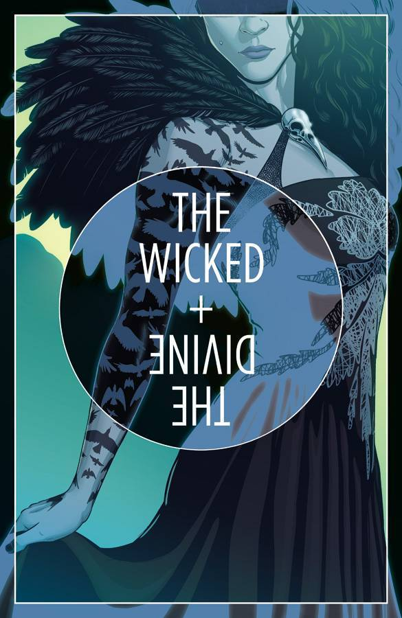 The Wicked + The Divine #16 annotations:Cover A: Jamie McKelvie-standard format for the arc: 2/3 body shot with quarter inch margin and 4.5″ title circle with alternative paletteThe Morrigan appears in grays and greens while the alternative palette is the blue black of photo negatives, The pose itself is reminiscent of our first encounter with Badb in issue #3, except in reverse.