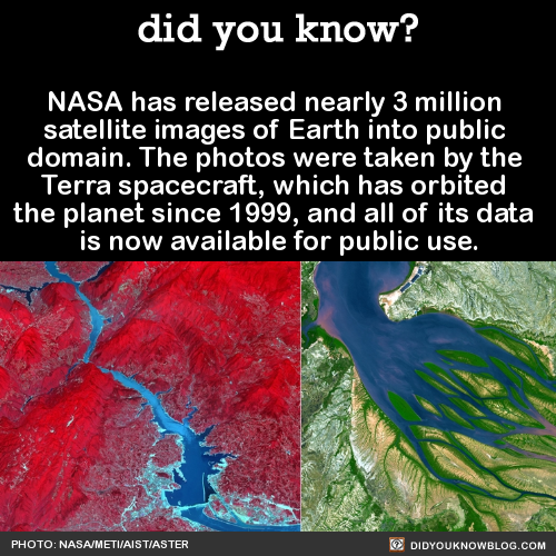 NASA has released nearly 3 million  satellite images of Earth into public  domain. The photos were taken by the  Terra spacecraft, which has orbited  the planet since 1999, and all of its data  is now available for public use.  Source Source 2Kondyor Massif, Russia/  Namib-Naukluft National Park   Great Wall of China/San Francisco:  Great Blue Hole, Beliz:Hugli River Delta, India/Altuvian fan, chinaMonument Valley, UtahSt. Anthony's Monastery, Egypt/ParisNicaragua's Momotombo volcano eruption in March 2016. The hot lava is displayed in yellow: