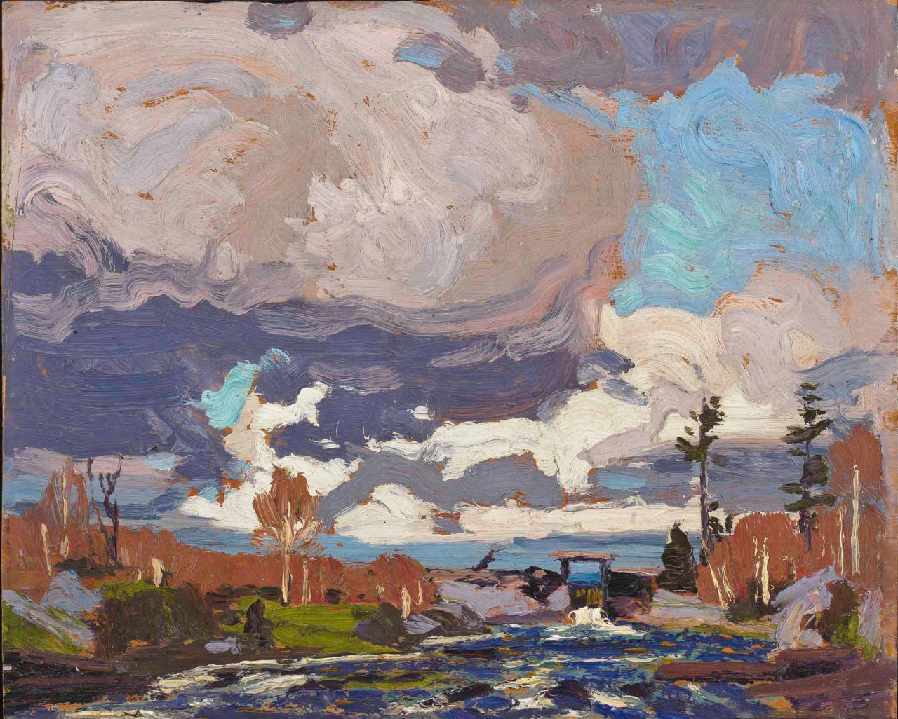 lawrenceleemagnuson:  Tom Thompson (Canada 1877-1917) Tea Lake Dam,Spring 1917oil on wood panel 21.3 x 26.2 cm