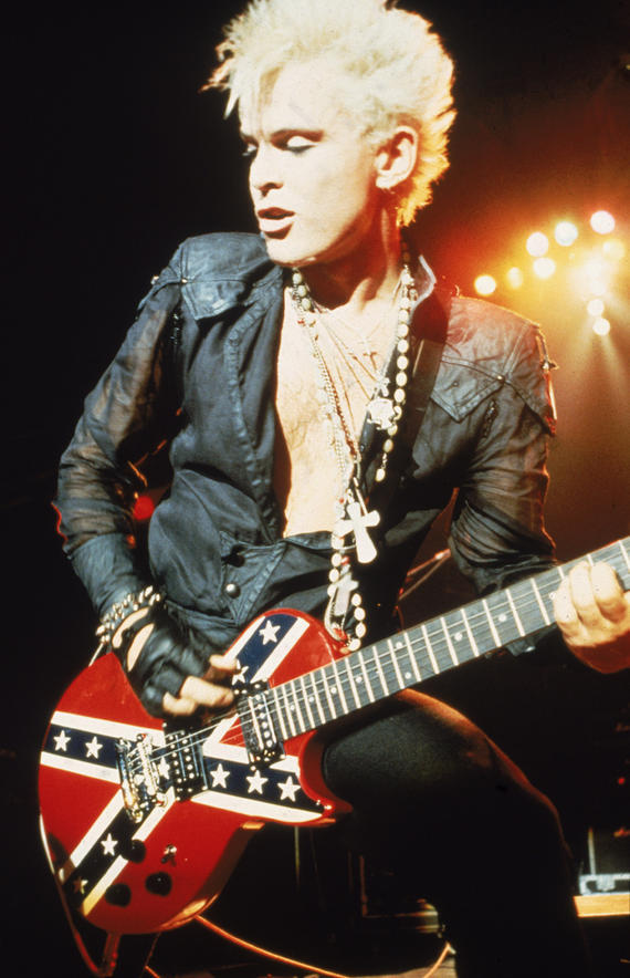 Billy Idol, a British rock star, even displays the Confederate flag on his guitar.