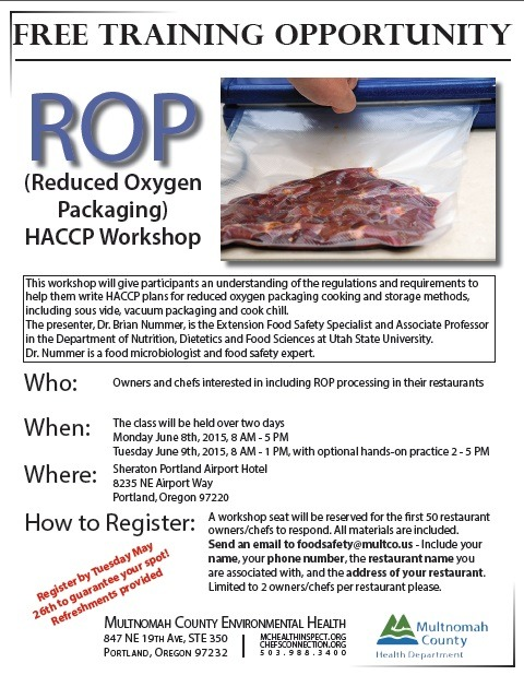 Free Reduced Oxygen Packaging ROP Class