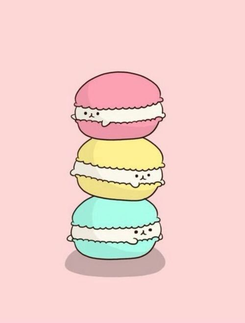 Cute Macaroons Hd Wallpaper Cartoon Desserts Tumblr