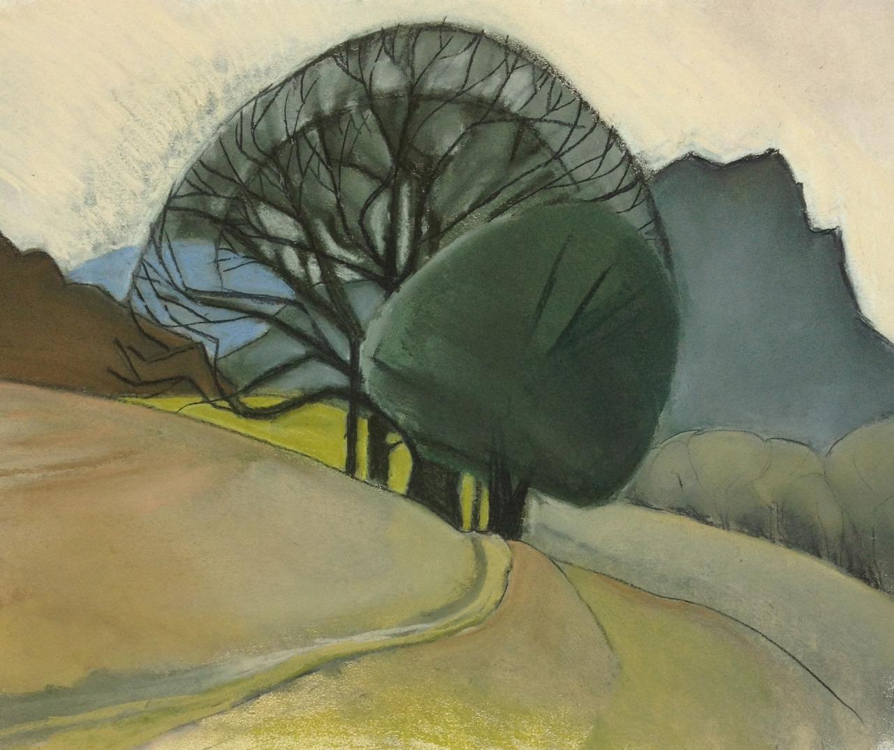 torfalcon:  Three Trees, April 2015 pastel on paper 33x30cmsTor Falcon