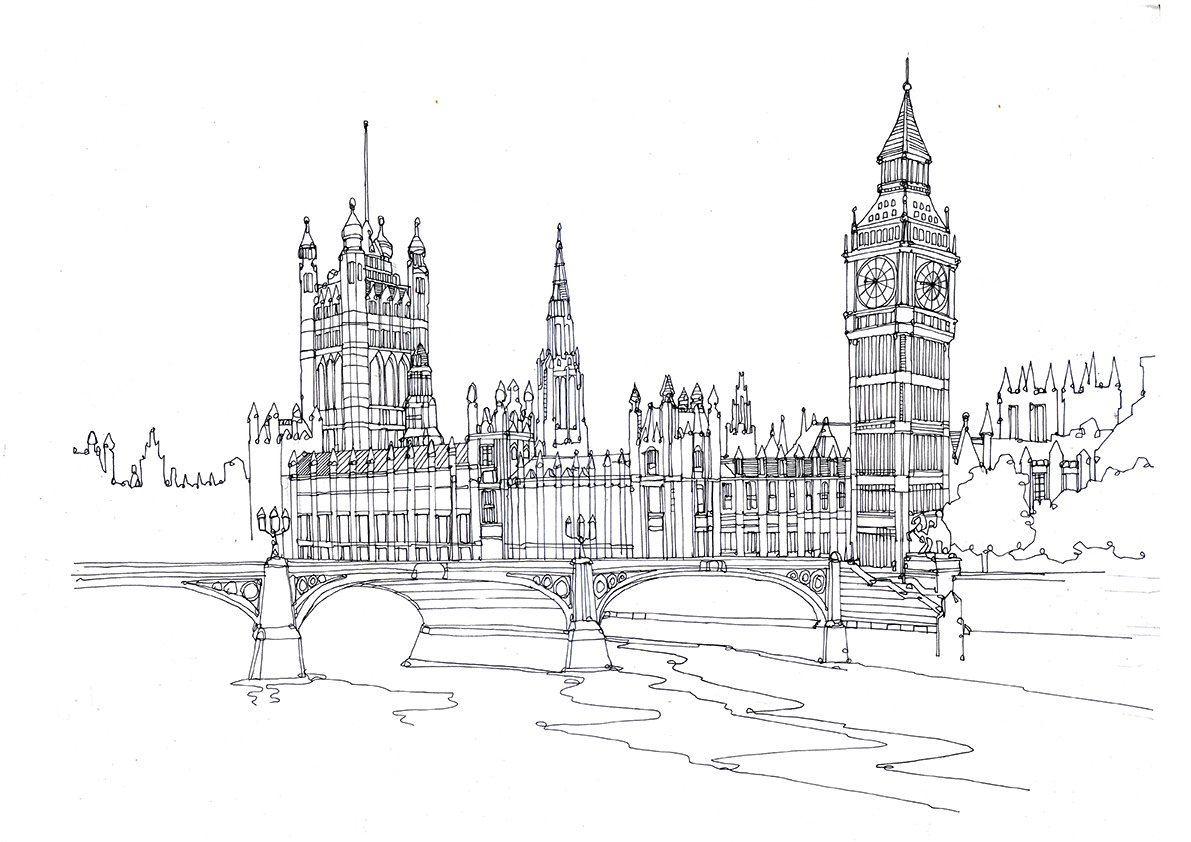 Houses Of Parliament London England Pen And