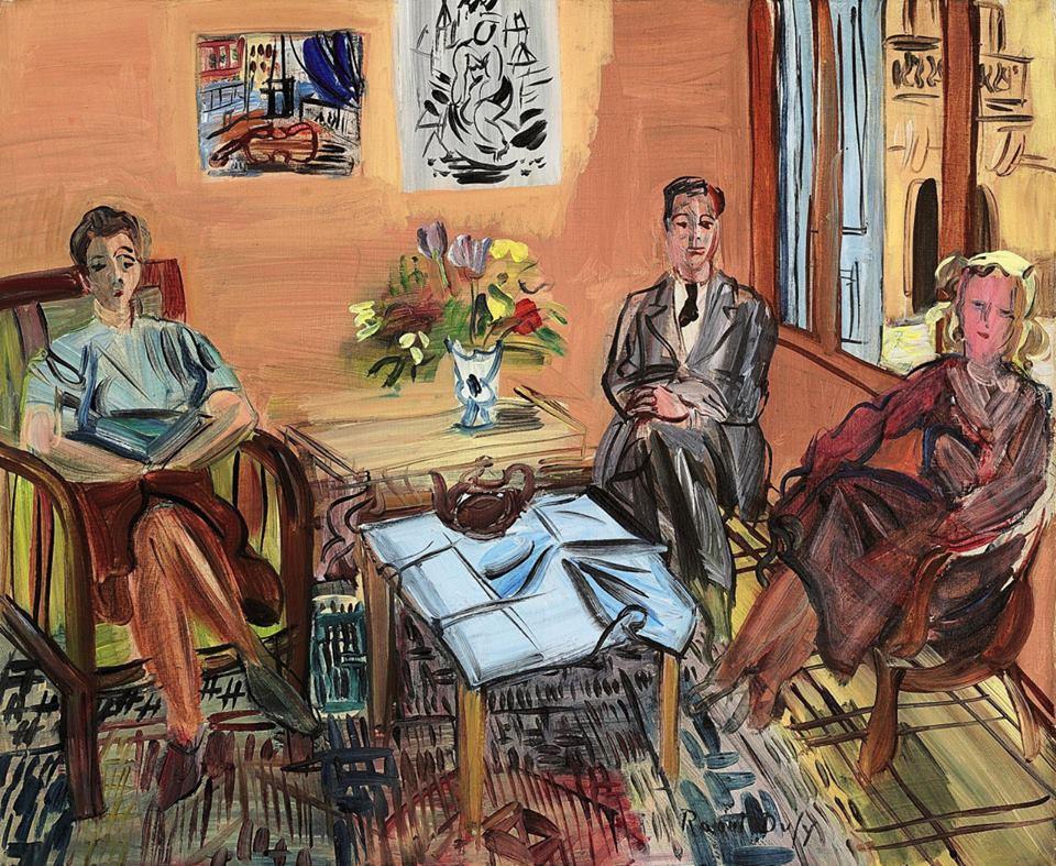 colin-vian:  Raoul Dufy (1877-1953) Trois personnages prenant le thé dans l'atelier de Perpignan, c. 1945