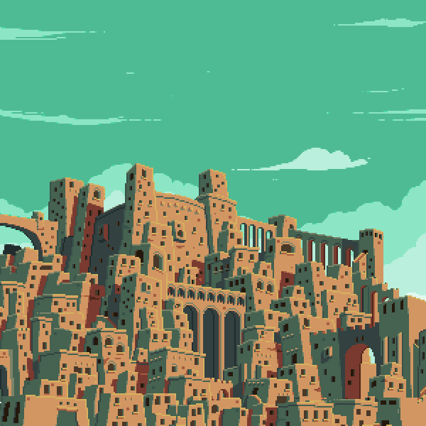 I decided to doodle some sort of ancient city and got carried away with it.  There is more of the scene but I haven't finished it yet but wanted to show what I had so far… Follow me on twitter if you want to see more stuff from me.