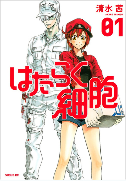 New License #6: Cells at Work!Our sixth new print manga of the day is Cells at Work! by Akane Shimizu, known in Japan as Hataraku Saibo. This is an action shonen manga set inside a human body!The average human body contains about 60 trillion cells, and each of them has work to do! But when you get injured, viruses or bacteria invade, or when an allergic reaction flares up, everyone from the silent but deadly white blood cells to the brainy neurons has to work together to get through the crisis!The first volume of Cells at Work! is coming out in print in Fall 2016. (English title tentative.)We've still got one more announcement to come, so refresh this link one hour from now for our final new manga… perhaps you've heard of Attack on Titan?