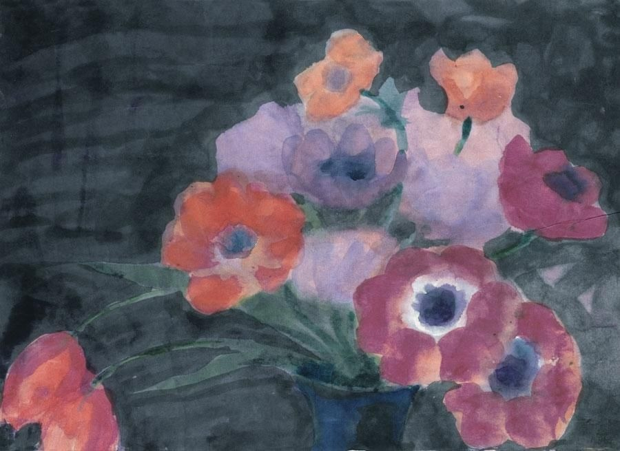 thunderstruck9: Emil Nolde (German, 1867-1956), Anemonen und Tulpen auf dunklem Grund [Anemones and tulips on a dark background], c.1920-25. Watercolour on paper, 34.6 x 48 cm.