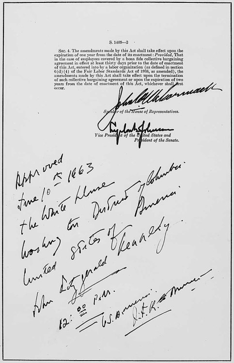Today's Document • The Act of June 10, 1963 (aka the Equal