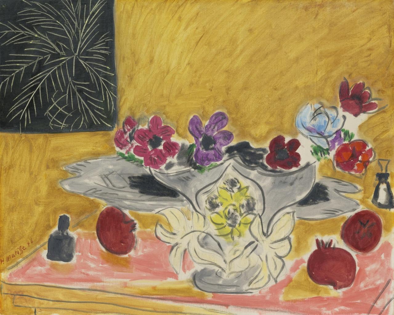 thunderstruck9:  Henri Matisse (French, 1869-1954), Anémones et grenades [Anemones and pomegranates], 1946. Oil on canvas, 65 x 81.2 cm.
