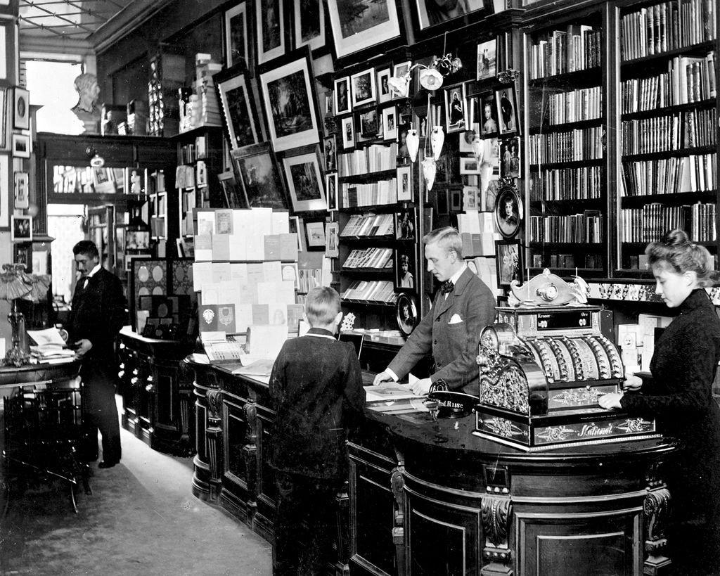 Henriques Bonfils Bookstore, Copenhagen, c. 1899.