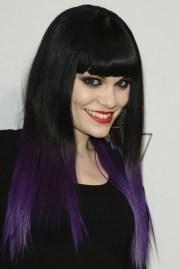 black hair purple dip dye