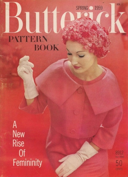 """A New Rise of Femininity"" - Evelyn Tripp wears a flower hat on the cover of a late 1950s Butterick Pattern Book"