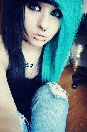 turquoise and black hair