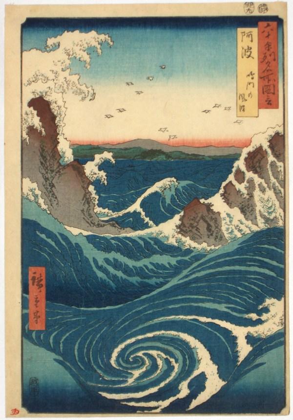 Japanese Art Ukiyo-. Whirlpool. Ichiryusai. Gurafiku
