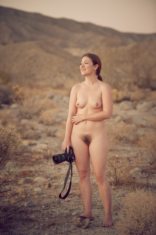 rebeccalawrence:  Me by Cam Attree Azra Borrego, California Note I am wearing one flip flop - the other is covered in cactus spines  Naturally nude in the desert. Normal is sexy!