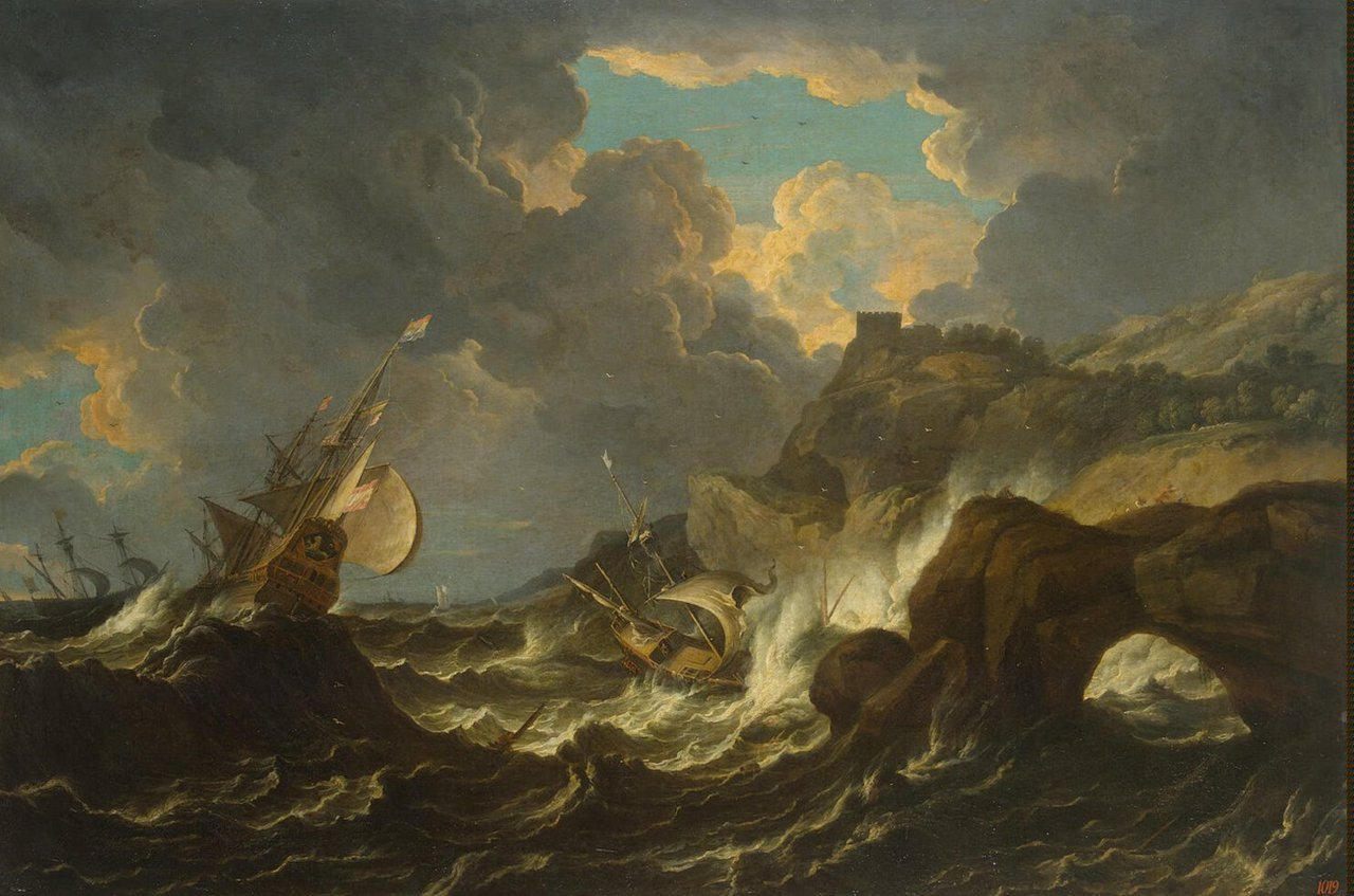 Storm in the Sea by Cavalier Pietro Tempesta, or Pieter Mulier II (1637 – 29 June 1701) Dutch Golden Age painter active in Italy.<br /> In Genoa he was imprisoned for 16 years for killing his wife. When the French bombarded the city in 1684, he was set free and fled to Parma, where he lived to old age, painting with two eyeglasses, one in front of the other.