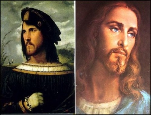 "White Jesus modeled on Cesare Borgia?<br /><br /><br /><br /> The theory is that people were generally not too enthusiastic about the Catholic Church's regular massacres of Jews and Muslims, because the people they were killing looked like Jesus.  Pope Alexander VI then ordered the destruction of all art depicting a Semitic Jesus and commissioned a number of paintings depicting a Caucasian Jesus.  His son, Cardinal Cesare Borgia, was the model for these paintings.  Thus, the nastiest of all the Borgias, became the iconic Caucasian Jesus so loved by Christians today. <br /><br /><br /><br /> In 1995, GZA's Liquid Swords album featured the solo track by Wu-Tang Clan affiliate, Killah Priest, ""B.I.B.L.E. (Basic Instructions Before Leaving Earth)"". The lyrics include the lines; ""I even learnt Caucasians were really the Tribe of Edam, The white image, of Christ, is really Cesare Borgia""<br /><br /><br /><br /> The true image of Jesus was likely closer to this & this."