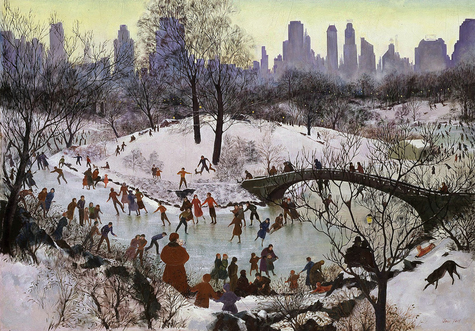 nedison: Hunters in the Snow by Pieter Bruegel, 1565 _____________________ Skating in Central Park by Agnes Tait, 1934