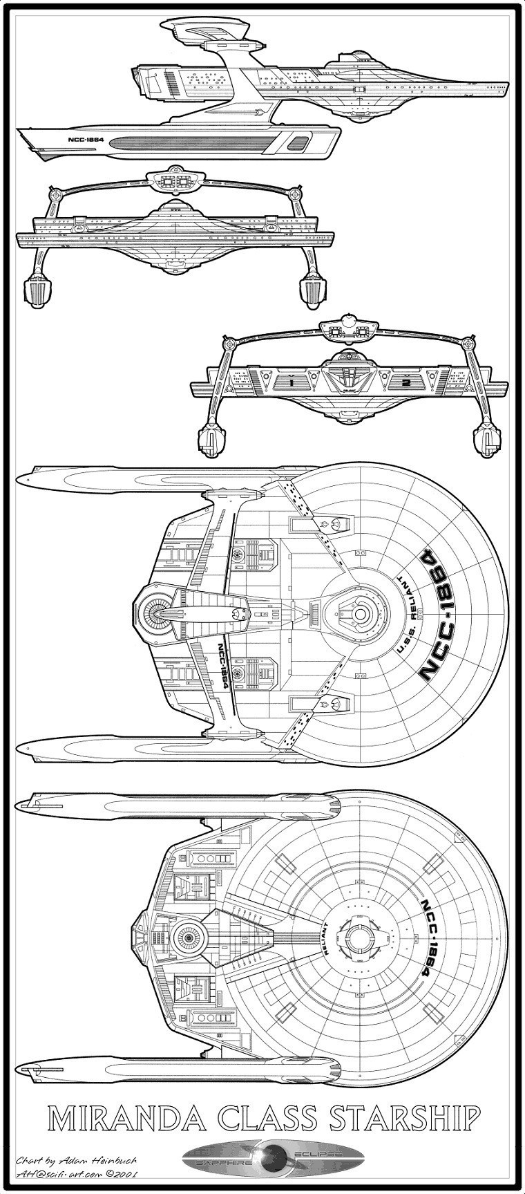 Starfleet ships • Miranda-class starship schematics