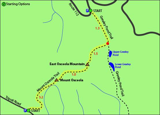 East Osceola Mountain Map Mount Osceola Mt Osceola Mount Osceola Trail Tripoli Road Route 112 Greeley Pond Trail Upper Greeley Pond Lower Greeley Pond Sandwich Range