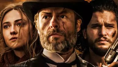 Guy Pearce, Kit Harrington und Dakota Fanning auf dem Plakat des Western Brimstone