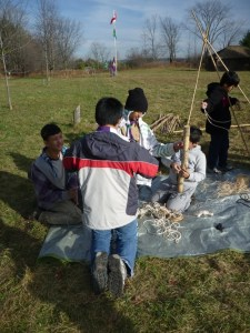 Helping teach knots and pioneering
