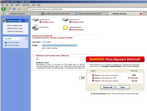 AntiVirus XP 2009 in action. Not even Firefox is immune.