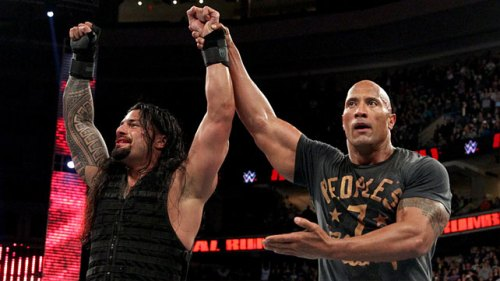 Reigns And The Rock At The Rumble