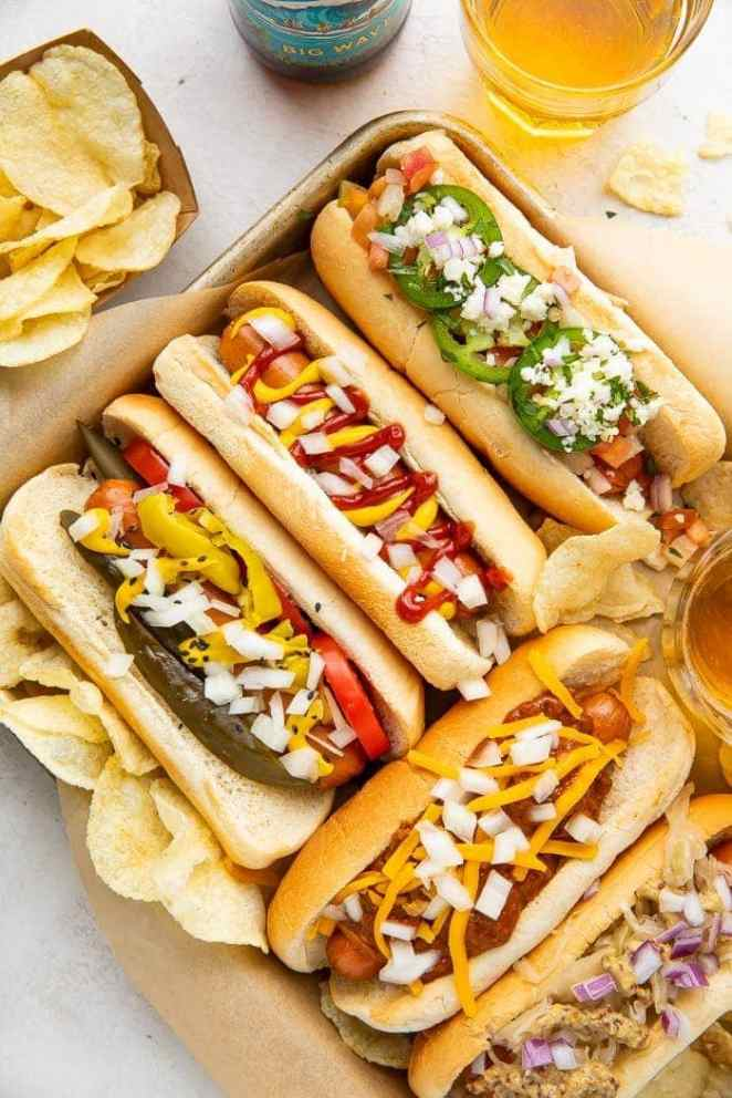 Air fryer hot dogs on a tray