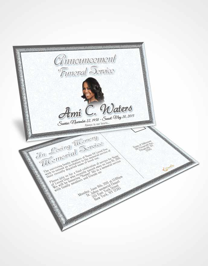 Obituary Template Trifold Brochure Black and White Purity