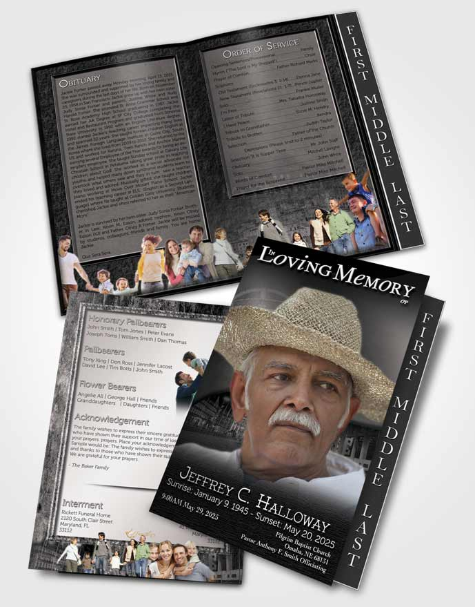 2 Page Graduated Step Fold Funeral Program Template Brochure Portuguese Black And White Serenity
