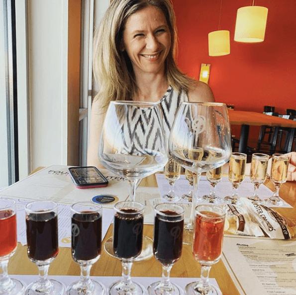 Melissa McNallan Wine Tasting at Four Daughters Wearing Banana Republic