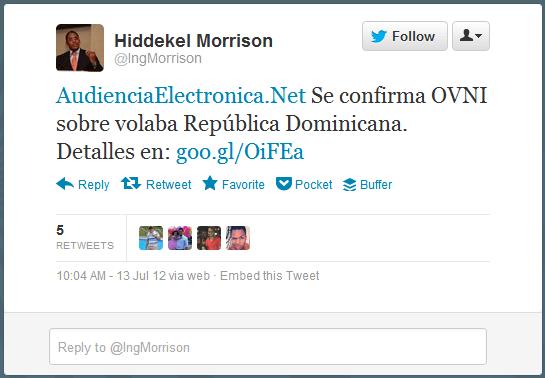 Se confirma OVNI sobre volaba República Dominicana