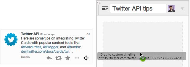 Añades tuits a tu timeline simplemente arrastrándolos