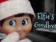 Elfie, our Elf on the Shelf, blowing a kiss