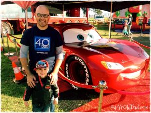 Dadda and Indy meet Lightning McQueen.